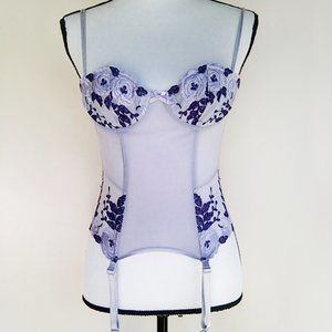 Purple Floral Embroidered Corset With Garters XS-S